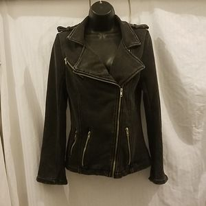 POL Sweatshirt Moto Jacket distressed black, Sm
